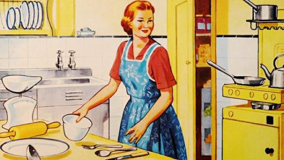 Die Schwäbische Hausfrau, immer sparsam und arbeitsfreudig
